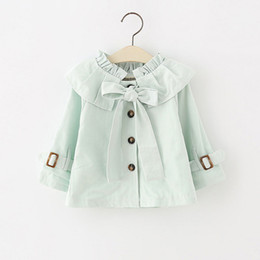 Wholesale Big Girl Down Coats - Cute Girls Big Bow Knot Trench Coats 2017 Fall Kids Boutique Clothing 1-4 Year Little Girls Solid Color Windbreaker Outerwear
