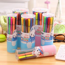 Wholesale Coloured Drawing - 24 colours water colour drawing pen marker Useful Pack Of Colours Fine Point Permanent Marking Pen Marker ink Pens