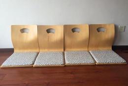 Wholesale Zaisu Wholesaler - (4pcs lot) Ash plywood cotton pad Zaisu Chair Wholesale Living Room Furniture Fabric Cushion Japanese Tatami Floor Legless
