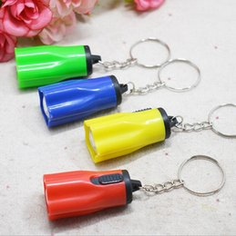 Wholesale Wholesale Key Light Cute - Colorful Flower Shape Portable Cute Bright LED Flashlight Key Chain Mini KeyChain Torch Flashlights Plum Ring Mixed Colors for Hiking