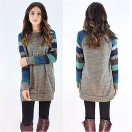 Wholesale Ladies Cotton Shirts Designs - Fashion ladies blouses dress shirt Casual tops long sleeve O-neck stripe design autumn winter blouses shirts for women ouc2013