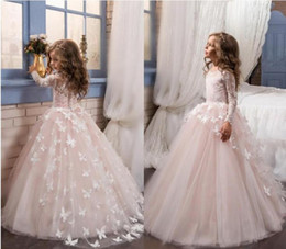 Wholesale First Butterfly - Christmas Long Sleeves Flower Girls Dresses for Weddings Butterfly Appliques Tulle Girls First Communion Dresses Infants Kids Pageant Gowns