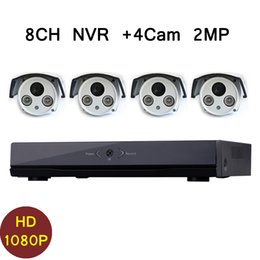 Wholesale Cctv 8ch Cmos - 8CH IP CCTV NVR System With 4 Pieces Wired 2 Megapixels Full HD 1080P IP Cameras 2.0MP NVR Kit Outdoor Waterproof Network Onvif