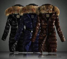 Wholesale Raccoon Long Coat - 2017 New Women Winter Long Jacket Coats Thick Parkas Plus Size Real Raccoon Fur Collar Hooded Outwear