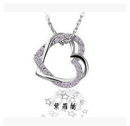 Wholesale Korean Crystal Necklaces - Korean version hot models Full drill double peach heart necklace leash wound your heart wholesale women jewelry