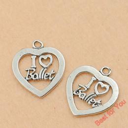 Wholesale Love Tone - 100p Tibetan Silver Tone I Love Ballet Heart Charms Fashion Pendants Jewelry Making Handmade Diy Jewelry Findings 25x21mm jewelry making