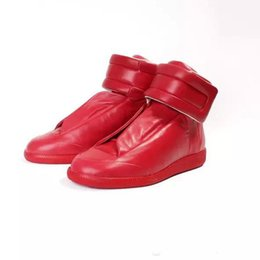 Wholesale Canvas High Tops Mens - maison martin margiela brand shoes man fashion genuine Leather high top mens shoes casual lace up men trainers flats shoes men ankle boots