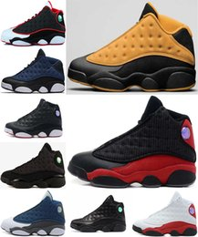 Wholesale Chocolates Boxes - WITH BOX 2017 retro 13 DMP Low Chutney Navy blue men basketball shoes black cat playoff Chicago History of Flight Flint He Got Game Sneaker