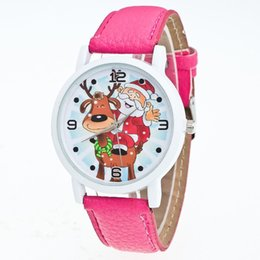 Wholesale Birthday Gift Watches For Women - Children Girls boys Watches Fashion Women leather Santa Claus Quartz Watch For Kid Christmas birthday gifts Cartoon Wrist kids watches