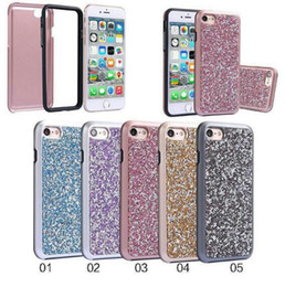 Wholesale Diamond Cell Phone Cases - Cool Premium bling 2 in 1 Luxury diamond rhinestone glitter back cover Cell phone case For iPhone X 8 7 5 6 6s plus Samsung S8 note 8 cases