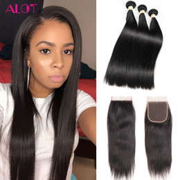 Wholesale Unprocessed Indian Lace Closure - Peruvian Virgin Hair Bundles Straight Virgin Human Hair 3 Bundles with 4*4 Lace Closure Natural Color Unprocessed Free Middle 3Part