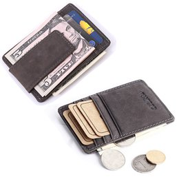 Wholesale Men Wallet Leather Money Clip - Wholesale- Genuine Leather RFID Men Clip Money Wallet Cowhide Male I Clip Designer Cluch Purse Short Dollar Price Bag -- BID067 PR49