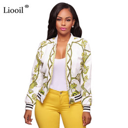 Wholesale Womens Bomber Jacket Xl - Liooil Pattern Print Bomber Jacket Long Sleeve Stand Collar Zip Up Fashion Coat Casual Autumn Winter Womens Jackets And Coats q171118