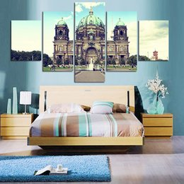 Wholesale Artwork Canvas 5pcs - 5PCS Free Shipping Painted Abstract Canvas The Cathedral Paintings Modern Tree Canvas Artwork Wall Living Room Or Bedroom Print