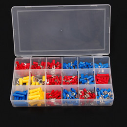 Wholesale Cable Connector Crimp - 300Pcs Wire Crimp TerminalsTool Insulated Electrical Cable Butt Ring Fork Spade Connectors Kit Red Yellow Blue Assorted Color Set