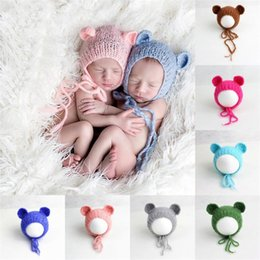 Wholesale Wholesale Newborn Props - Handcraft Baby Hats Handmade Knitting Mohair Bonnet Hat Baby Photography Props Newborn Infant Photography Prop On Baby Shower Gift