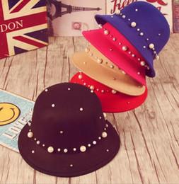 fascinadores de navidad Rebajas Mujeres tacaños sombreros fascinadores sombrero de copa invierno cálido Lana perla diamante casquillo del banquete de boda Accesorios de moda regalo de Navidad festivo