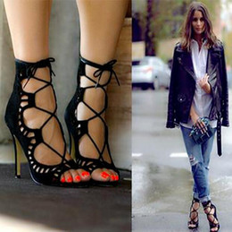 Wholesale Peep Toe Lace Wedding Heels - Sexy Womens Strappy Lace Up Open Toe Gladiator Sandals Stilettos High Heel Shoes