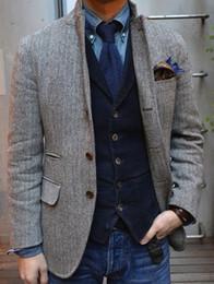 Wholesale Plus Size Wedding Separates - 2017 Gray Tweed Tuxedos Wool Herringbone Wedding Tuxedos British Style Mens Suit Slim Fit Suit Jacket Men Wedding Suits For Men Custom Made