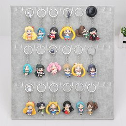 Wholesale Sailor Sets - 6pcs set Anime Sailor Moon Keychain keyring mini figure Action figures toy with pendant toys approx 5cm with keyring