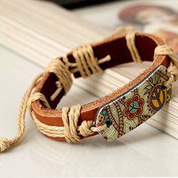 Wholesale Paint Charms - Pyrograph Peace Sign Painting Hemp Rope Bracelet Wholesale Length Can Be Adjusted For Man Women Children Christmas Gift Lovers Present
