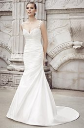 Wholesale Satin Charmeuse Wedding Dresses - 2016 Ivory Charmeuse Pleated Wedding Gowns Spaghetti Lace Straps Mermaid Wedding Dresses Long Train Backless Country Bridal Gowns