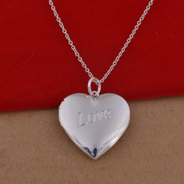 picture chains Promo Codes - 2017 new Plated 925 Sterling Silver Necklace, popular Korean heart-shaped picture frame Necklace 20pcs lot