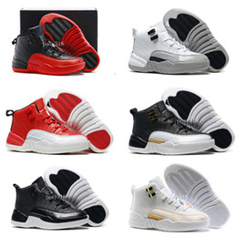 Enfants chaussures enfants ailés en Ligne-Children's Retro 12 Barons 12s Neoprene Black Nylon Basketball Shoes Kids Boys Girls White OVO 12s Wings Sports Sneakers Birthday Gift