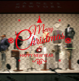 Wholesale Happy Window - Creative DIY Christmas Decoration Christmas Blessed happy new year wall sticker Carved Removable Windows art Sticker home Decor Wholesale