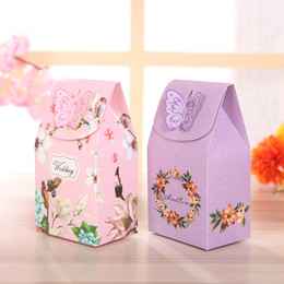 Wholesale Wholesale Boxes For Cookies - Lovely Butterfly Cookies Candy Box Cute Gift Bag Paper for Party Decorations Wedding Favor Event Party Supplies ZA5181