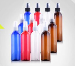Wholesale Fine Packages - 250 ml Empty Transparent Plastic Fine Mist Spray bottle Cosmetic Packaging PET bottle Blue Brown Red Portable Travel