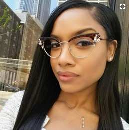 2019 gafas mitad marco ojo de gato Gafas retro ojo de gato lente transparente con cristales de pedrería Montura de gafas de montura de montura de mujer gafas falsas gafas de miopía montura óptica