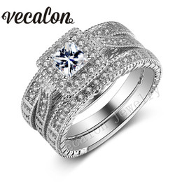 Wholesale Antique Gold Wedding Rings - Vecalon Antique Jewelry 3-in-1 Wedding Band Ring Set for Women 2ct Simulated diamond Cz 10KT White Gold Filled Engagement ring