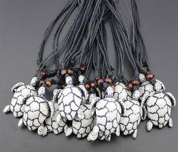 Wholesale Men Pendant Tribal - Wholesale 12PCS Imitation Bone Carved Tribal Turtles Pendant for men women's jewelry Surfing sea turtle Necklace Gift MN443