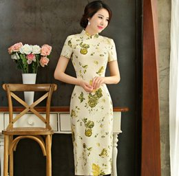Wholesale Vintage Flax - Chinese Style Cultivate One's Morality Show Thin Short Sleeved Big Yards Restoring Ancient Ways The New Modified Flax Long Cheongsam