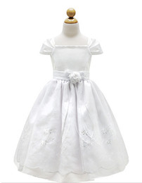 Wholesale Short Sleeved Ball Wedding Gowns - Communion Dresses Classic Flower Girl White Cap Sleeved Beaded Dress First Holy Communion Wedding Girls Dress Long Section Lace Elements Br