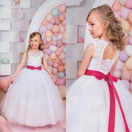 Wholesale Day Corset Tops - 2016 Lovely Flower Girls Dresses for Weddings Puffy Lace Tulle Skirt Ball Gown Girls Pageant Gowns with Bow Sash Corset Back Top Quality
