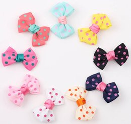 Wholesale Baby Hair Clips Leopard - New Candy Color Solid Dot Leopard Print Bow Hairpin Hair Clips for Baby Girls Kids Hair Accessories baby hair barrettes