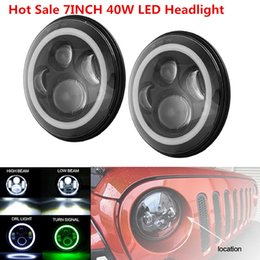Wholesale led running lights inch - Halo Ring Round led headlight 7 inch Low High Beam Daytime Running light for Jeep Wrangler Land Rover Defender DC 10-30V