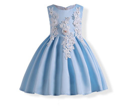 Wholesale Solid Light Blue Ball Gown - 2018 Summer New Girl Princess Dress Embroidered Flower Light Blue Sleeveless Evening Dress Children Clothing 3-10Y E1782