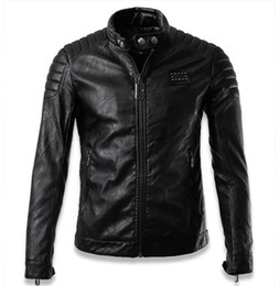Wholesale Slim Mens Biker Jacket - Fall-Chaquetas De Cuero Hombre 2016 Luxury Skull mens pilot leather jackets jaqueta de couro men biker jacket brand clothing man XXXL