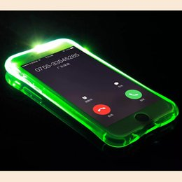 Wholesale Iphone Blink - LED Lights Flashing Remind Incoming Call Blinking TPU Bumper Frame Soft Case Cover for iPhone X 5 7 8 Plus Phone Back Housing