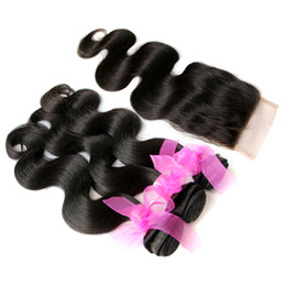 Wholesale Remi Body Wave - 8A Brazilian Hair Bundles with Closure 8-32inch Double Weft Human Hair Extensions Dyeable Remi Hair Weave Body Wave 4pcs lot Free Shipping