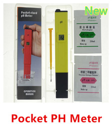 medidor ph ph digital gratuito Rebajas Pocket LCD Digital PH Meter Pen PH Tester Calidad del agua con 2xpH Buffer Powders Pool Spa 100pcs / lot DHL libre