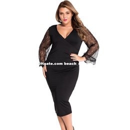 Wholesale Beautiful Dresse - XL-3XL plus size dresses women Deep V Flare Bell Sleeve side draped evening party dresses big beautiful women fashion elegant bodycon dresse