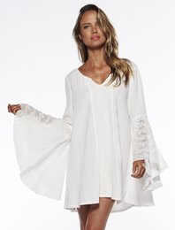 Wholesale Long White Cotton Beach Dresses - 2016 new European and American Women clothing V-neck Sexy Dress Trumpet Sleeves Loose Big Yards Women's Beach Dress free shipping