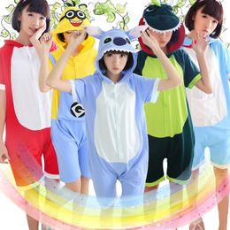 Wholesale White Adult Onesies - Wholesale-Summer pajamas Totoro Panda Adult Unisex One Anime Short Sleeve Cotton Hooded Pajamas Pijamas Cosplay Women Onesies Homewear