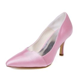 Wholesale Pink Low Heel Prom Shoes - 2016 Pink Color Pointy Shoe Women Wedding Shoes evening shoes High Heel Bridal Shoes Party Prom Women Shoes bridal shoes Size42