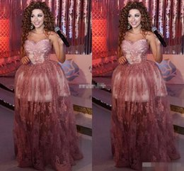 Wholesale Evening Dresses Tull - 2016 Myriam Fares Ball Gown Celebrity Evening Dresses Sweetheart Appliqued Lace Long Prom Gowns Arabic Special Occasion Dress High Low Tull