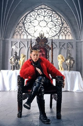 Wholesale Dj Cover - Fall-HOT ! men's fashion DJ bar singer DS Quan Zhilong with a large red Black Faux Fur leather jacket costume Free Shipping
